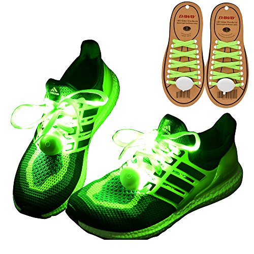 DAWAY Z02 LED Light Up Shoelaces - Nylon Glow Shoes Laces with 3 Flashing Modes Cool Safety Accessories for Party Dancing Hip-hop Cycling Running(Green)