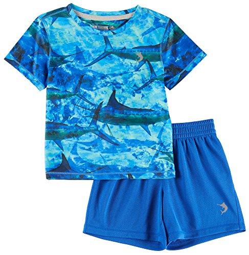 Reel Legends Toddler Boys Reel-Tec Marlin Stripe Shorts Set 2T Blue