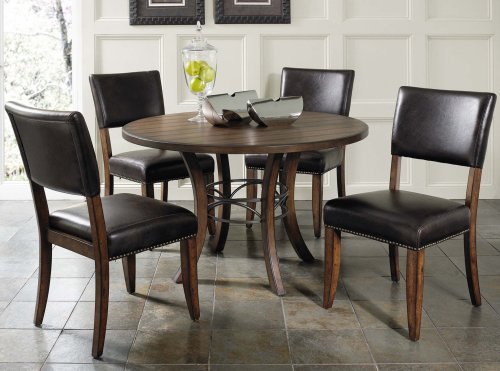 5-Piece Round Wood Base Dining Set with Parson Chairs - Parsons Chair Round Chair