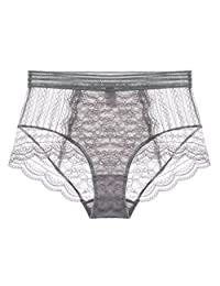 Ladies Underwear Elegant Middle-waisted Lace Underpants [Gray]
