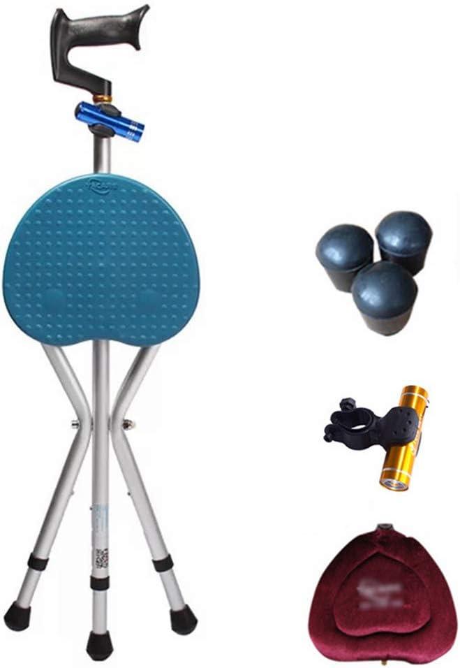 HSBAIS 杖と座席、座席付き ポータブル 松葉杖 5 調節可能な高さ 松葉杖シート LED照明付き厚さ441ポンド,青_86cm 青 86cm