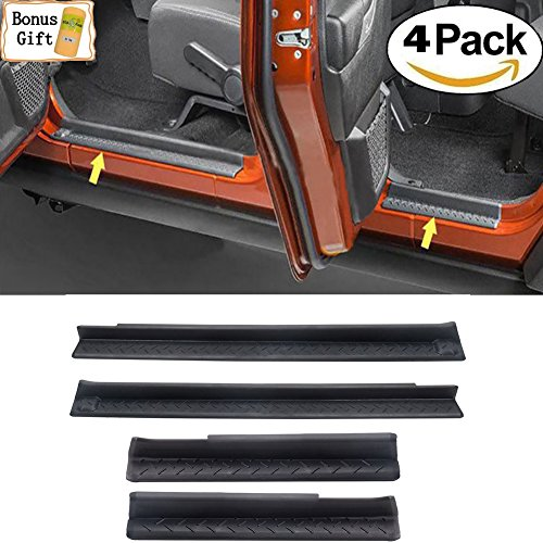 Plate Entry (Big Ant Door Entry Guards,Jeep Wrangler Accessories Entry Sill Plate Protectors for 2007-2016 Jeep Wrangler JK & Unlimited 4-Door ABS-Cover-Step-Protector 24.8''3.1''(Black))
