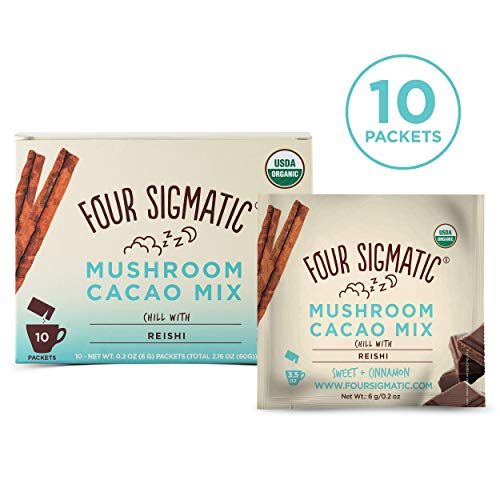 Four Sigmatic Mushroom Hot Cacao with Reishi - USDA Organic Reishi Mushroom Powder - Natural Calm, Relax, Sleep - Vegan, Paleo - 10 Count