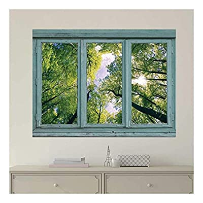 Vintage Teal Window Looking Out Into a Green Forest and The Sky - Wall Mural, Removable Sticker, Home Decor - 24x32 inches