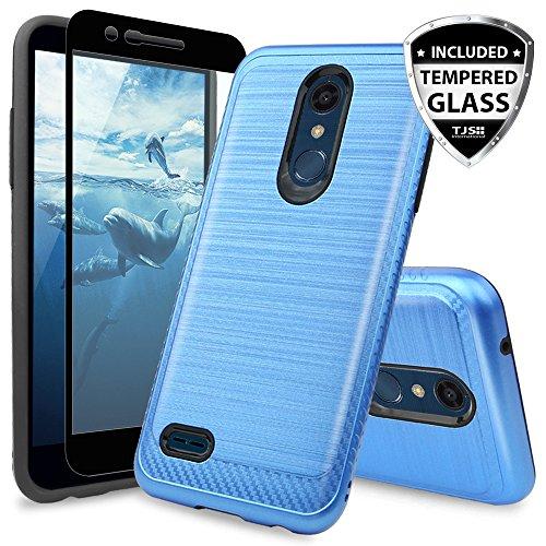 TJS LG K10 2018/K30/Premier Pro LTE/Harmony 2/Phoenix Plus Case, with [Tempered Glass Screen Protector] Shockproof Phone Case Cover Metallic Brush Finish Hard Inner Layer (Dark Blue)