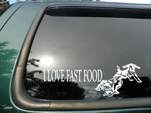 Fast Food Rabbit- Die Cut Vinyl Window Decal/sticker for Car or Truck 3.5