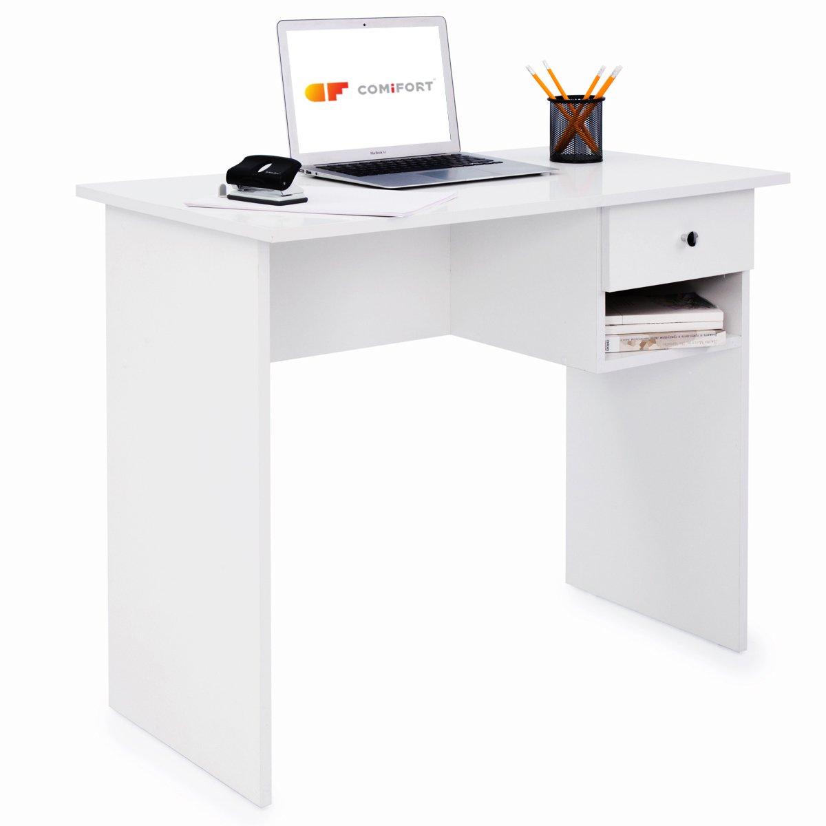 COMIFORT T02B - Escritorio con Cajon e Estante, Mesa de Ordenador, 90x50x74 cm (