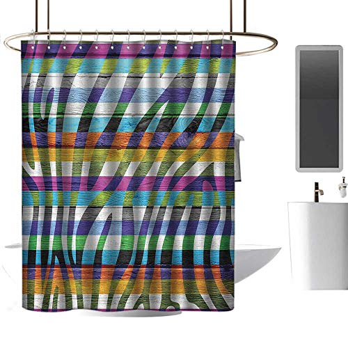 Teal Shower Curtains for Bathroom Zebra Print,Art Colored Zebra Print Wood Planks Decorative Artistic Design Illustration,Green Fuchsia,W55 x L84,Shower Curtain for Bathroom (Print Zebra Footstool)