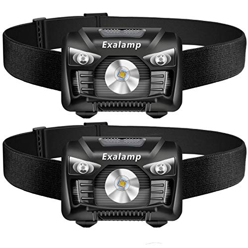 Adjustable Headband 5 Display Modes 2 Pack of Headlamp Perfect for Running Waterproof Lightweight Repairing Hiking 500 Lumens White Cree LED Head lamp with Red light and Motion Sensor Switch