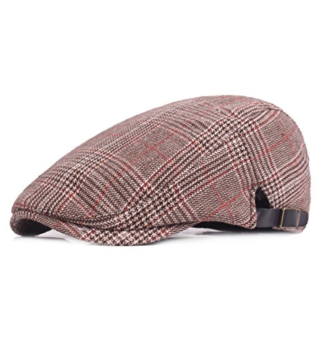 (Sumolux Men's Plaid Tweed Cap Wool Blend Twill newsboy Flat IVY Collection Cabbie Driving Hat)