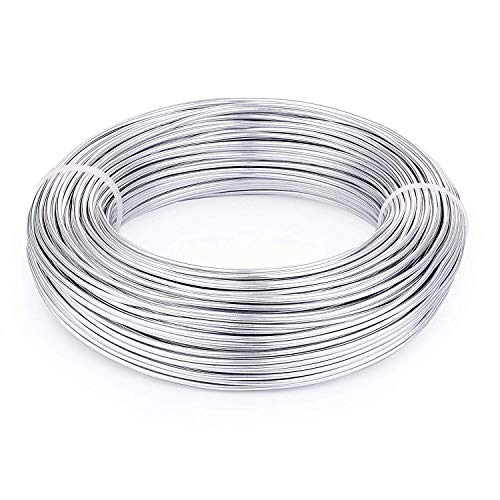 Fashewelry 164 Feet 12 Gauge Aluminum Wire Silver Bendable Metal Craft Wire for Beading Jewelry Craft Making (Aluminum Floral Wire)