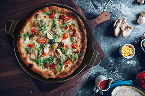 Vremi Ceramic Pizza Stone for Grill and Oven - Large Round 15 Inch Nonstick Baking Stone with Built-in Handles for Kitchen or Outdoor Barbeque - Thick Professional Bread Stoneware for Pies and Tarts