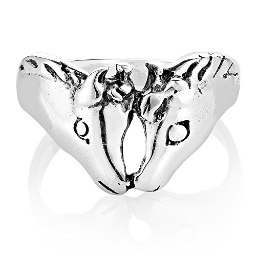 (925 Sterling Silver Vintage Twin Horse Head Band Ring Unisex Jewelry Size 8 - Nickel Free)