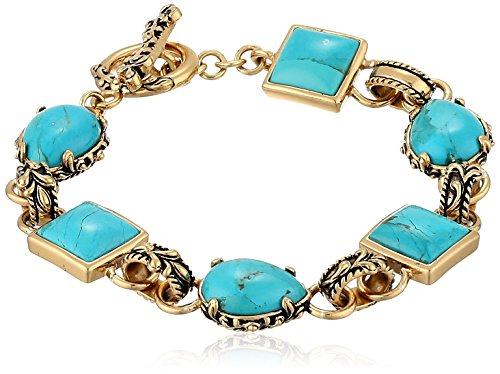 Barse Jubilee Bronze and Turquoise Toggle Bracelet, -