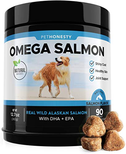 Salmon Oil for Dogs - Omega 3 Fish Oil For Dogs All-Natural Wild Alaskan Salmon Chews Omega 3 for Dogs for Healthy Skin & Coat, Cure Itchy Skin, Dog Allergies, Reduce Shedding - 90 Ct. Fish Oil (Best Dog Food For Shedding Problems)