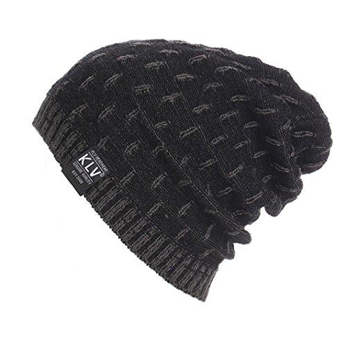 (Clearance!! Mens Winter Warm Knitting Hats Wool Baggy Slouchy Beanie Hat Skull Cap (Grey))