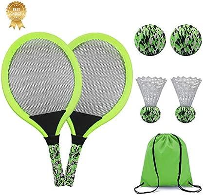 KiraKira Raquetas para niños, Raquetas de Tenis niño,Raqueta de bádminton, Incluye Pelota de Tenis * 2 Pelota de bádminton * 2 con Bolsa de Mano ...