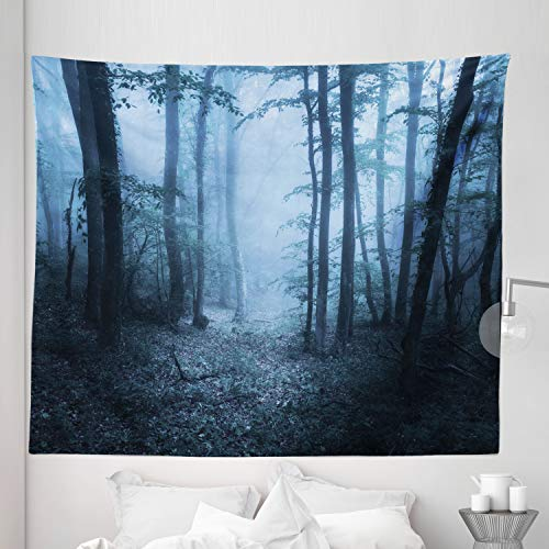Lunarable Forest Tapestry King Size, Mysterious Forest Foggy Spooky Atmosphere Wet Humid Fantasy Nature Scene, Wall Hanging Bedspread Bed Cover Wall Decor, 104