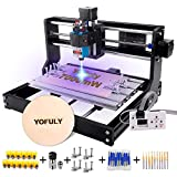 3018 Pro CNC Router Kit with 7W Module, Yofuly GRBL Control 3 Axis DIY CNC Machine, Wood Acrylic PCB Carving Milling Engraving Machine with Offline Controller(7000mW) (Tamaño: 7W)