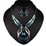 Girl Era Big Drop Sapphire Retro Elegant Style Necklace Earring Sets Wedding Party