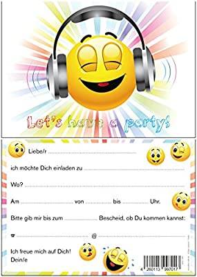 Juego De 8 Tarjetas De Invitación Divertida Smiley De Emoji