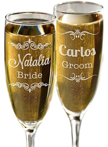 (Set of 2 Bride and Groom Champagne Glasses Personalized with Name Laser Engraved Champagne Flutes for Wedding Newlyweds)