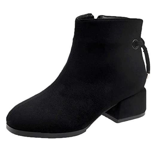 1f85094581535 Amazon.com: Hunzed Women Shoes Suede Thick Round Head Zipper Girl's ...
