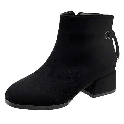 Botas tacón Ancho para Mujer Otoño Invierno 2018 Moda PAOLIAN Botines Militares cuña Casual Zapatos Terciopelo Señora Calzado Vestir Dama Botas Chelsea ...