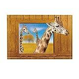 KOTOM Comics Giraffes Kids Decor, Giraffe in Nature Looking out Wooden Window Bath Rugs, Non-Slip Doormat Floor Entryways Indoor Front Door Mat, Kids Bath Mat, 15.7x23.6in, Bathroom Accessories