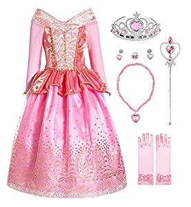 ReliBeauty Girls Princess Dress up Aurora Costume with Accessories, 6-6X, Pink