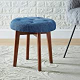 Cheap WEMART Linen Tufted Round Ottoman with Solid Wood Leg, Upholstered Padded Stool – Blue