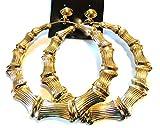 Clip on Bamboo Hoop Earrings Clip Hoop Earrings Gold or Silver tone 3.5 inch Hoops