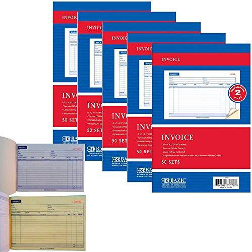 (5 x Carbonless Invoice Receipt Record Book 2 Part 50 Sets Duplicate Receipt Copy)
