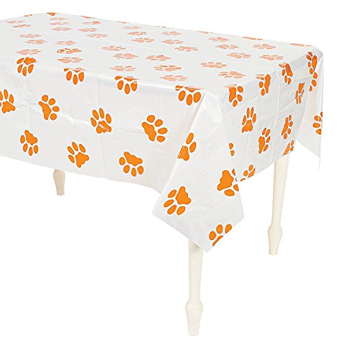 Puppy Dog Paw Print Plastic Table Cover - 54