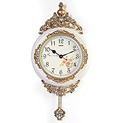 Classic European Antique Bronze and White Analog Wall Clock with functional Pendulum, For Dining/Living Room or Office, precise quartz movement