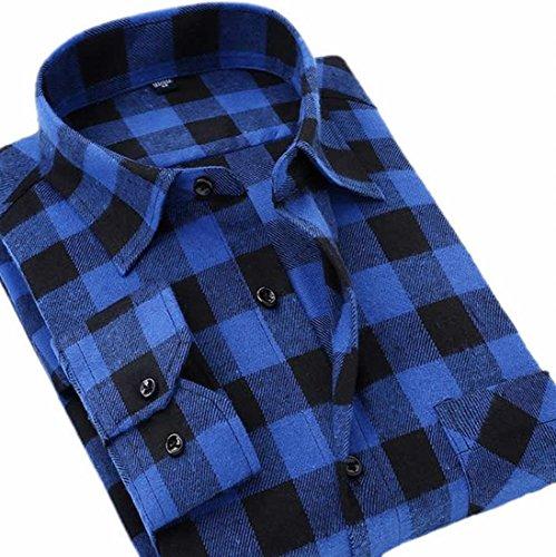 - Etecredpow Mens Flannel Casual Buffalo Plaid Checkered Long Sleeve Shirt Blue L