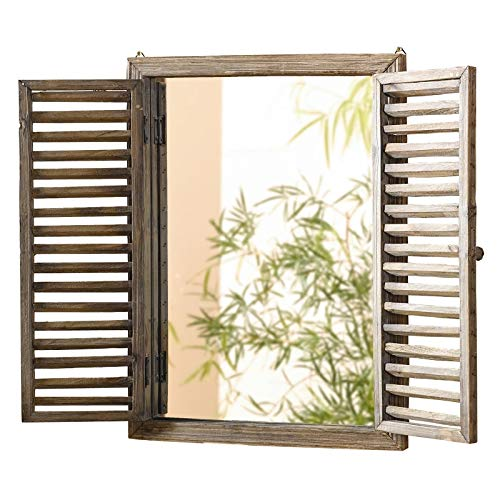 Aromzen Rustic Shuttered Mirror with Wood Frame (Frame Shuttered With Mirror)