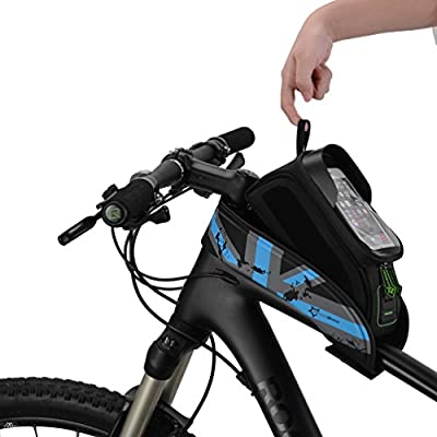 "RockBros Bike Frame Bag 5.8/"" Touch Screen Waterproof Front Tube Cycling Bag Gray"