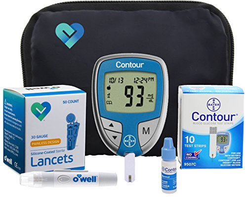 Bayer Contour Diabetes Blood Glucose Testing Kit – Bayer Contour Meter, 10 Test Strips, 50 OWell Lancets, OWell Lancing Device, Manual, Log Book & Carry Case