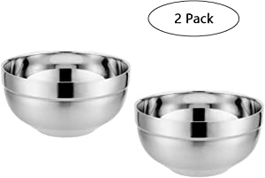 35oz Metal Rice Cereal Bowls Disumos Stainless Steel Serving Bowls Double Walled Ice Cream Soup Bowls Heat Insulated Mixing Bowls Set 2 Pack