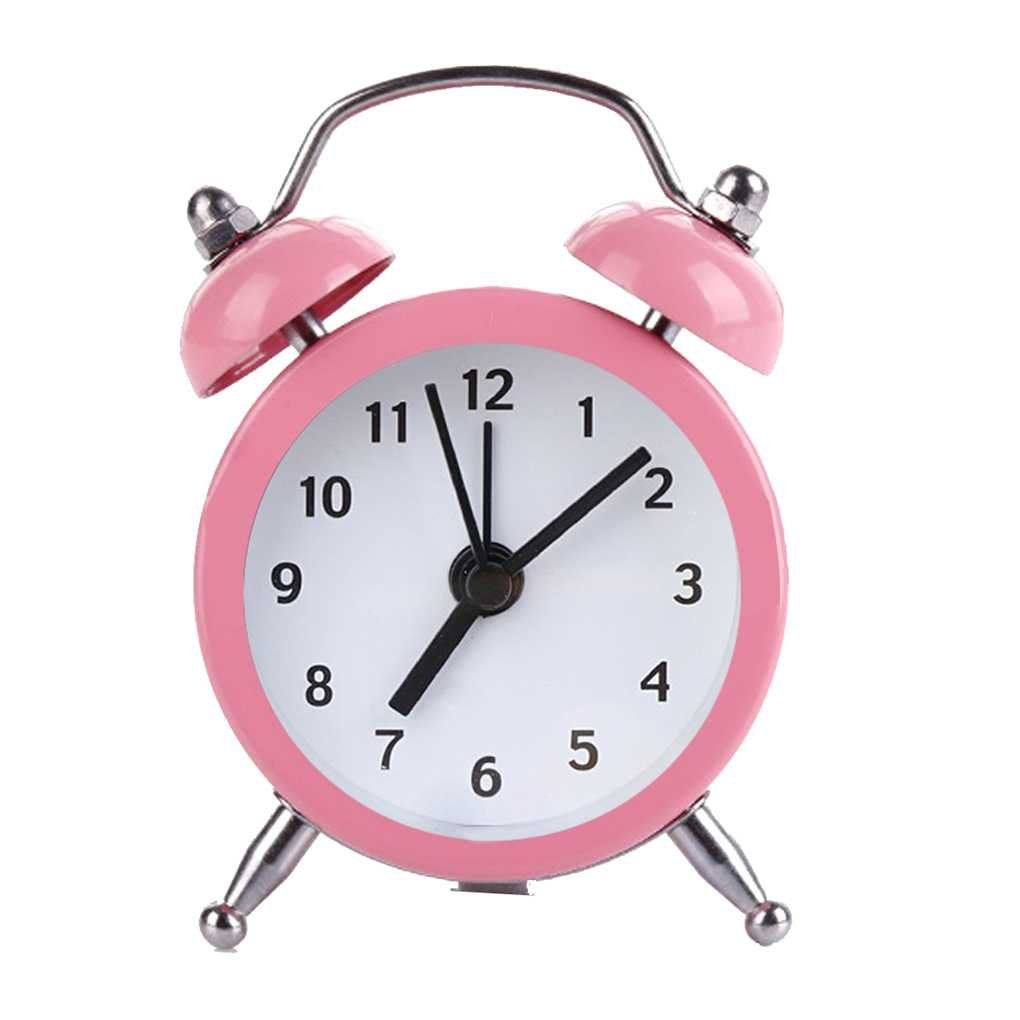 Mini Round Alarm Clock Desktop Table Bedside Clocks Kids Adults Travel Clock Decor Regard Regard Natral