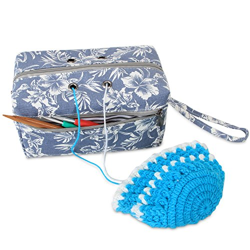 Luxja Small Yarn Storage Bag, Portable Knitting Bag for Yarn Skeins, Crochet Hooks, Knitting Needles (up to 8 Inches) and Other Small Accessories (Small, Flowers) by LUXJA
