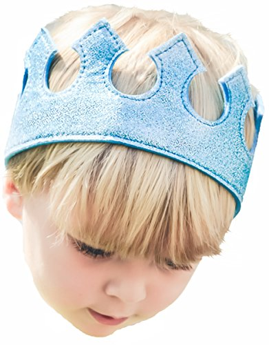 [Boy Crown Blue Halloween Costume Dress Up Play Time Glitter Stretch Birthday Party] (Tea Cake Costume)