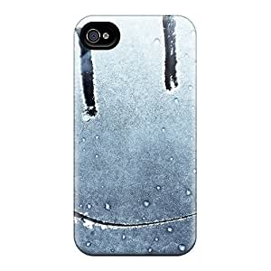 Williams6541 Premium Protective Hard Case For Iphone 4/4s- Nice Design - Smiley Face On A Frozen Window