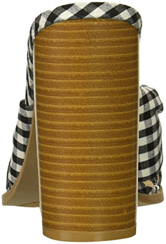 Whte Qupid Mujer Fabric Tacón de Sandalias Madera Black RYw1Yzqg