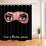 Rrfwq Islam Decor I Am A Muslim Woman Polyester Fabric Waterproof Bath Curtain 70.8X70.8 in Shower Curtain Hooks Included Black Pink