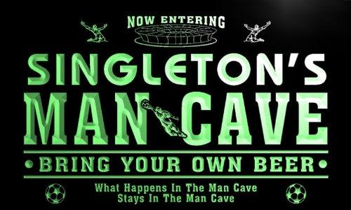 qd1484-g SINGLETON's Man Cave Soccer Football Bar Neon Sign by AdvPro Name