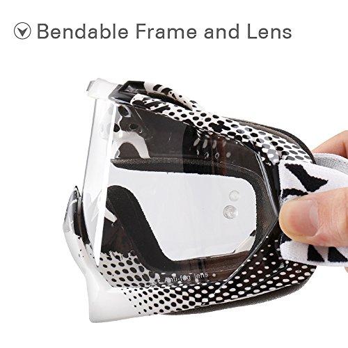 NENKI Motocross MX ATV Goggles NK-1019 For Off Road Dirt Bike Unisex Adult (White & Black,Clear Lens) by NENKI (Image #3)