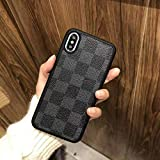 Allan iPhoneXR - New Elegant Luxury Designer PU Leather Classic Monogram Style Protective Case Cover Anti Scratch Drop Protection for Apple iPhone XR (Black Checker)