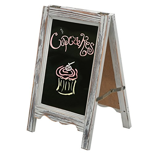 15-inch Rustic Wood A-Frame Double-Sided Chalkboard Easel with Scalloped Bottom, Vintage Gray